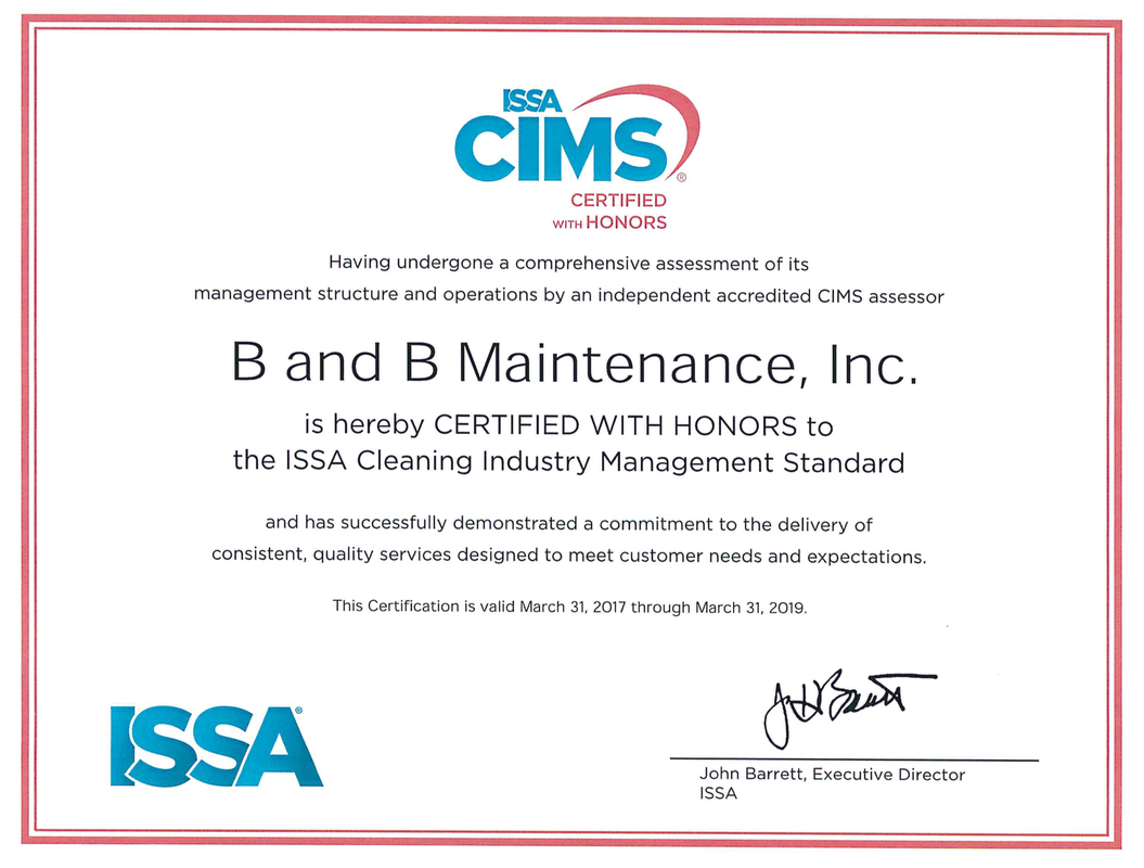 CIMS and CIMS-GB - B AND B MAINTENANCE, INC.